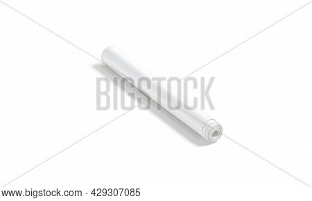 Blank White Wallpaper Twisted Roll Mockup, Side View, 3d Rendering. Empty Rolled Poster Or Paper Mat