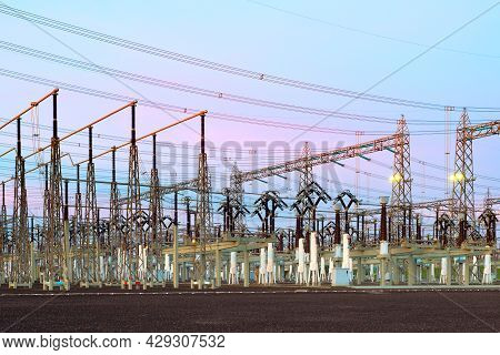 View Of An Electric Substation At Dusk