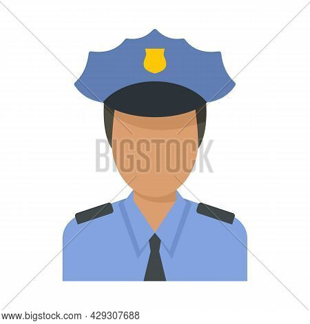 Airport Police Officer Icon. Flat Illustration Of Airport Police Officer Vector Icon Isolated On Whi