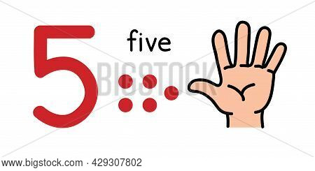 5, Kids Hand Showing The Number Five Hand Sign.