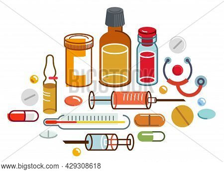 Big Composition Set Of Medicaments Vector Flat Illustration Isolated, Pharmacy Drugs Apothecary Bott