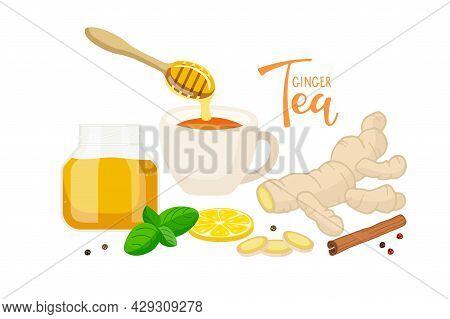 Ginger Tea. Cup Of Tea. Ingredients For Tasty And Healthy Hot Drink. Ginger Root, Lemon Slice, Honey
