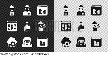 Set Cloud Technology Data Transfer, Analyst Engineer, Broken File, Hangar With Servers, File Missing