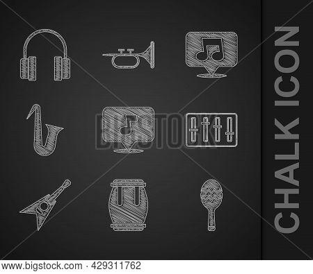 Set Music Note, Tone, Drum, Maracas, Sound Mixer Controller, Electric Bass Guitar, Musical Instrumen