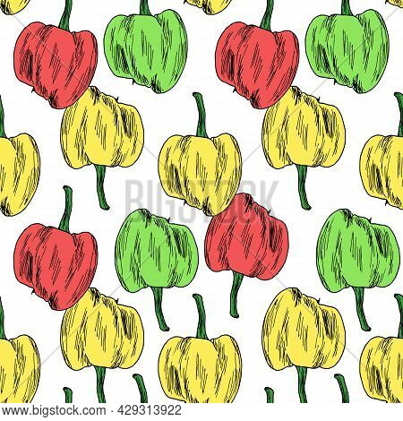 Vector Seamless Pattern Of Multicolored Peppers. A Pepper Pattern, Hand-drawn In The Style Of A Sket