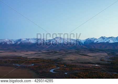 Awesome Landscape With Mountain River Serpentine In Valley Among Hills And Forest In Autumn Colors W