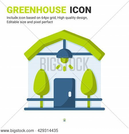 Greenhouse Icon Vector With Flat Color Style Isolated On White Background. Vector Illustration Conse