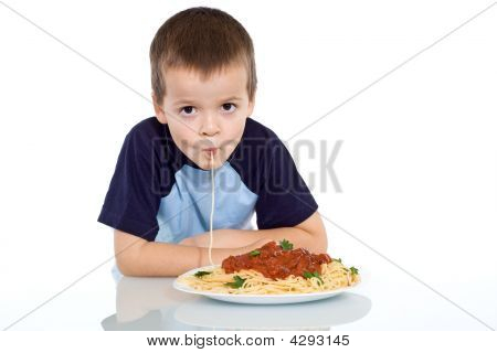 Kid Sipping Up Pasta