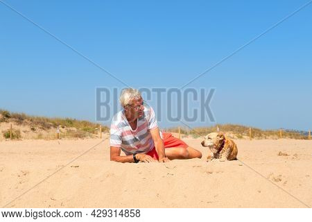Senior man laying with old dog at the summer beach