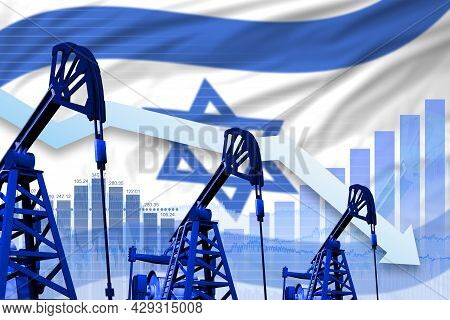 Israel Oil Industry Concept, Industrial Illustration - Lowering Down Chart On Israel Flag Background