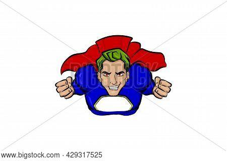 Super Hero Green Hair Man In Cartoon Comics Book Style. Pop Art Flying Superhero Vector Illustration