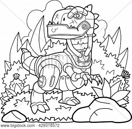 Cartoon Mechanical Dinosaur Tyrannosaurus, Coloring Page, Funny Illustration