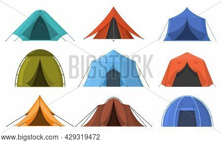 Outdoor Adventure Camping Touristic Sleeping Tents. Hiking, Travel Recreation Tourist Rest Tents Vec