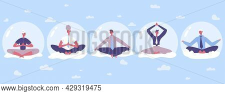 Business People Yoga Abstract Sky Meditation Practicing. Office Workers Relax In Lotus Position Vect