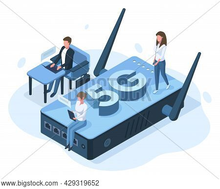 Isometric 5g Mobile Internet Network Connection Concept. Office People Work With High Speed Internet