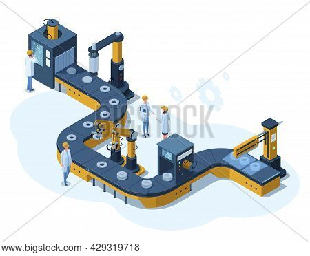 Isometric Factory Automated Mechanised Conveyor Line. Industrial Automated Robotic Conveyor, Product