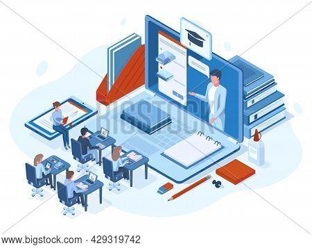 Isometric Online Webinar Training E-learning People Concept. Online Webinar, School Education Or Dig
