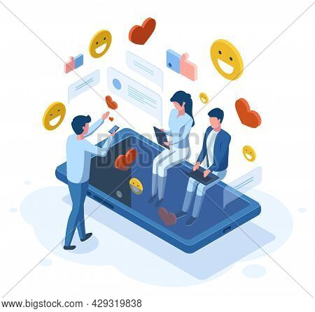 Isometric Social Media People Online Communication Concept. Social Network, Person Get Positive Feed