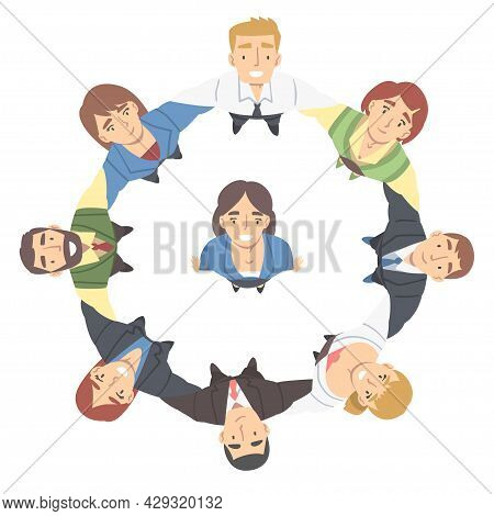 Smiling Business People Characters Embracing Arranging Circle Looking Up Above View Vector Illustrat