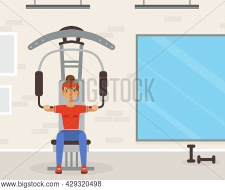 Young Woman Character With Headband And Sportswear On Gym Machine Vector Illustration