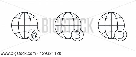 Cryptocurrencies Signs. Globes With Cryptocurrencies Icons. Digital Cryptographic Currency Icons. Ve
