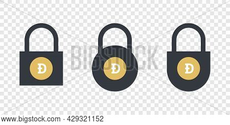 Dogecoin Icons. Cryptocurrency Icons In Locks. Digital Cryptographic Currency Icons. Vector Illustra