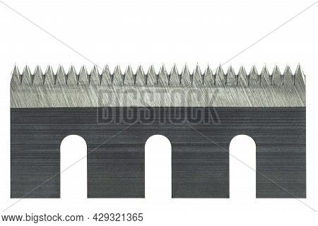 A Macro Photo Of A Serrated Industrial Blade For Tape Cutters, Isolated On A White Background With C