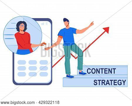 Content Marketing Strategy Concept, Flat Vector Illustration Isolated On White. Engaging Content And