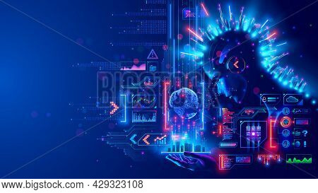 Digital Ai In Image Robot Woman Holds Phone In Hand. Smart City On Screen Mobile Smartphone Communic