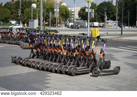 Moscow Russia - August 2021: There Are A Lot Of Rental Scooters At The Rental Station. Ecological Ur
