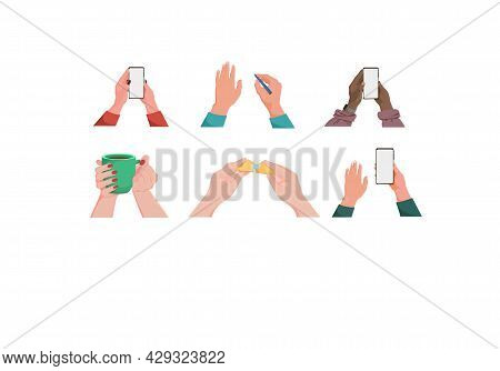 Set With Hands With Various Items. Mug. Female Hands With The Phone. Blank Screen. Hands With Chines
