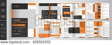 New Clean And Simple 12 Page Brochure Template Layout, Minimal Business Brochure Template Design.yel
