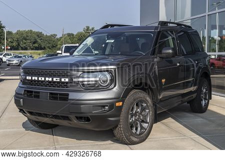 Harrison - Circa August 2021: Ford Bronco Display At A Dealership. Broncos Can Be Ordered In A Base
