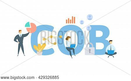 Cob, Close Of Business. Concept With Keyword, People And Icons. Flat Vector Illustration. Isolated O