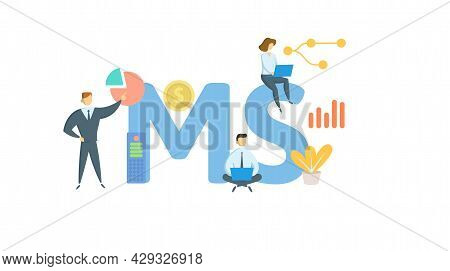 Ms, Mass Spectrometry. Concept With Keyword, People And Icons. Flat Vector Illustration. Isolated On