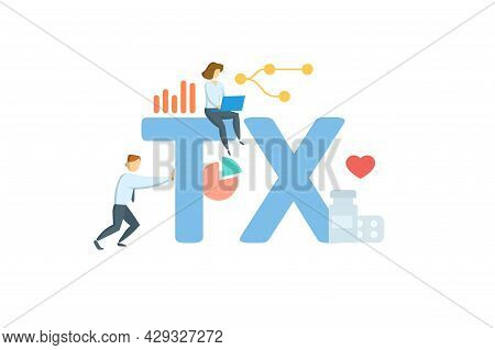 Tx, Treatment. Concept With Keyword, People And Icons. Flat Vector Illustration. Isolated On White.