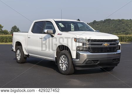 West Harrison - Circa August 2021: Chevrolet Silverado 1500 Display. Chevy Is A Division Of Gm And O