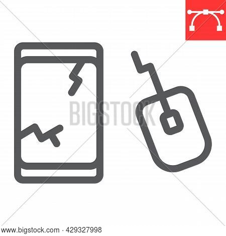 E-waste Line Icon, Recycle And Mouse, Electronic Waste Vector Icon, Vector Graphics, Editable Stroke