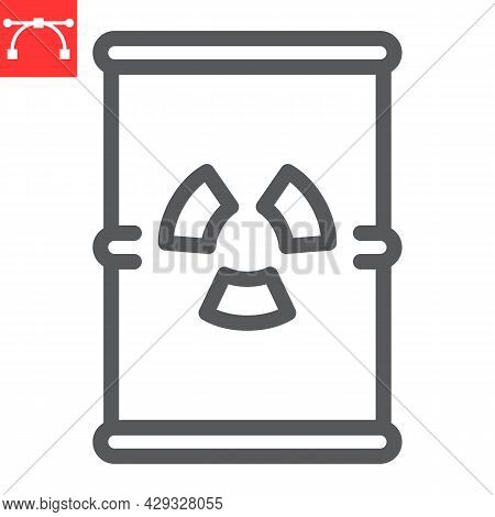Barrel With Radioactive Waste Line Icon, Recycle And Ecology, Chemical Waste Vector Icon, Vector Gra