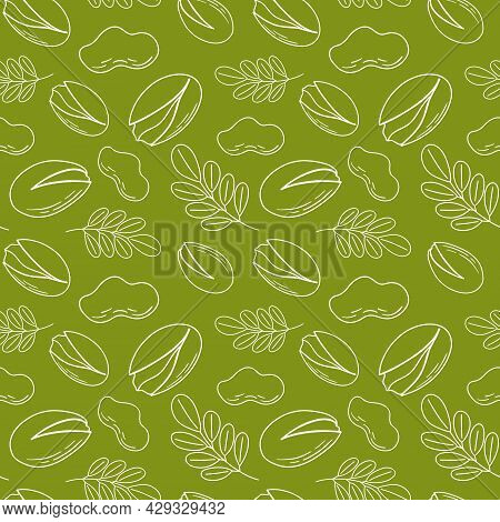 Hand Drawn Sketch Illustration Of A Seamless Background Pattern With A View Of Pistachio Nuts. Vecto