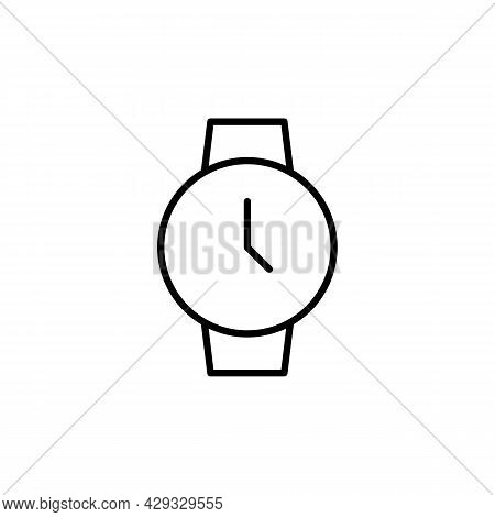 Hand Watch Icon. Wrist Watch Simple Black Line Icon On White. Trendy Flat Isolated Symbol Sign Can B