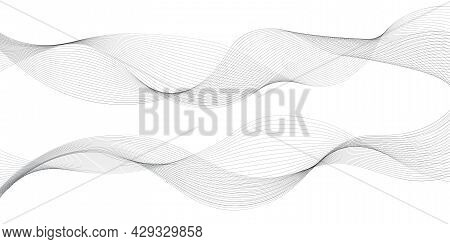 Undulate Wave Lines, Frequency Sound Waves. Fractal Dynamic Swirl Curves In Motion, Gray On White Ba
