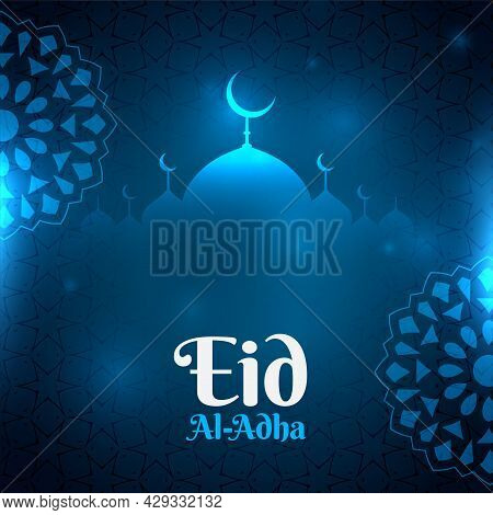Blue Eid Al Adha Glowing Background With Mosque Shape Design Vector Illustration