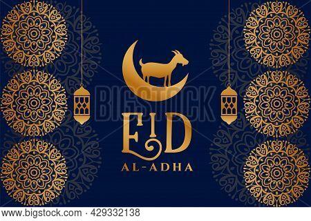 Islamic Ornamental Style Eid Al Adha Premium Card Design Vector Illustration