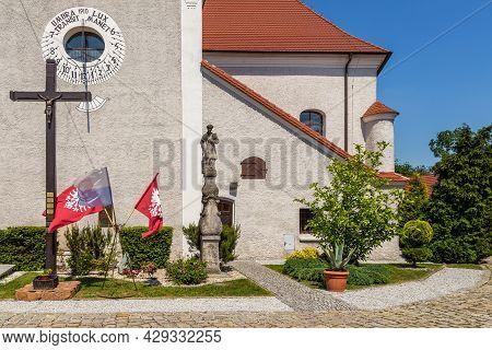 Jarocin Poland - 23 May 2016: View Of The Saint Martin Parish In Jarocin, Roman Catholic Parish Belo