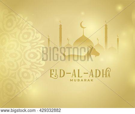 Nice Golden Eid Al Adha Islamic Greeting Design Vector Illustration