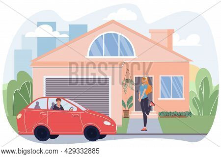 Vector Flat Cartoon Man Character Drives Up To House, Young Stylish Happy Cute Girl Waiting For Him