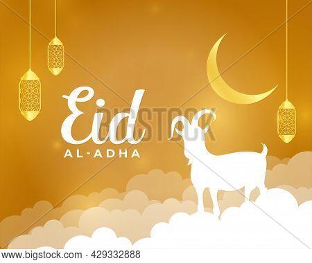 Nice Eid Al Adha Holiday Greeting Design Vector Illustration