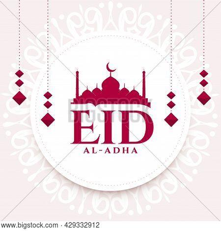 Beautiful Eid Al Adha Wishes Background Design Vector Illustration