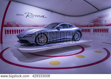 Modena, Italy - July  14, 2021: Gray Color Ferrari Roma Type F169 Grand Touring Coupe, High Performa